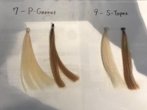 今回はこの2種類の明るさの毛束を染めていきます。