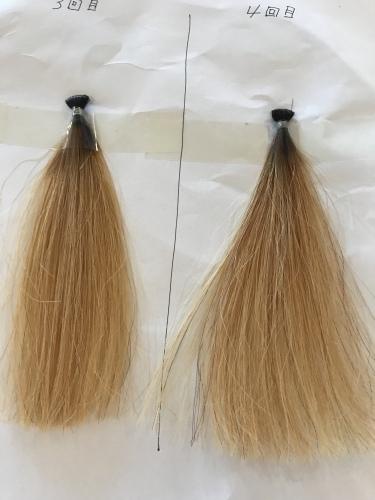 それぞれ3回と4回ブリーチした毛束。艶と手触りもかなりよくなっています。
